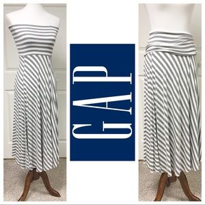 💥GRAY & WHITE STRIPED GAP MAXI SKIRT / DRESS